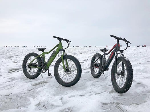 two bikes on ice and snow