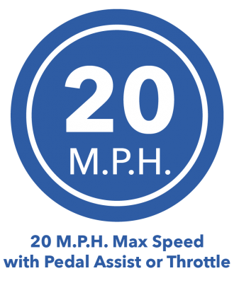 20 MPH Max Speed with Pedal Assist or Throttle eBike Icon