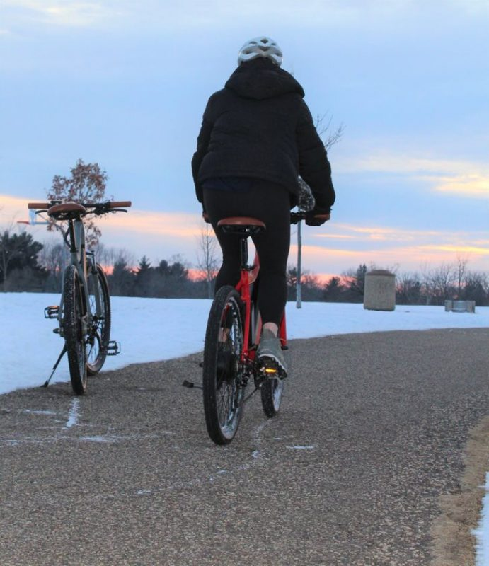 Electric Bike Rider During Winter