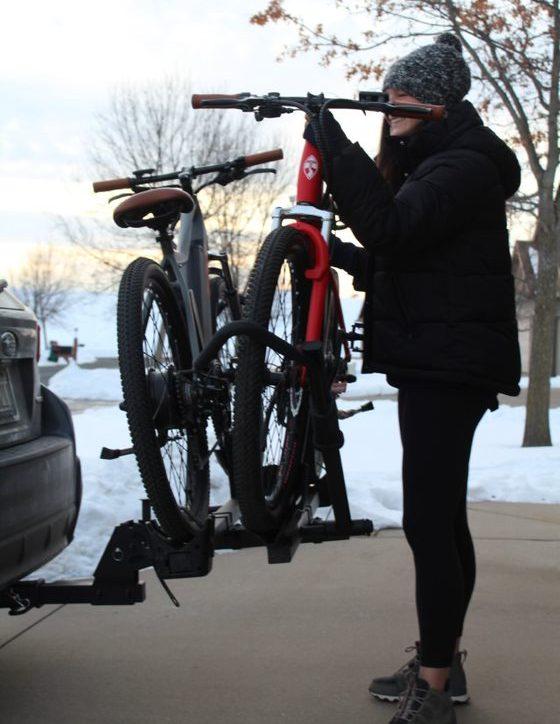 Female Racking Bikes on Car
