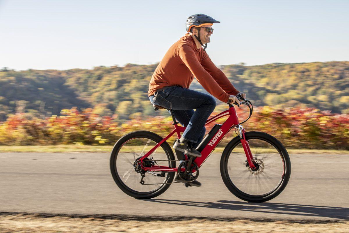 Man Riding Tuoteg XPLR eBike