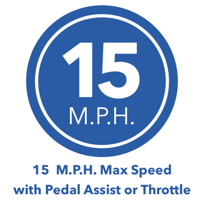 15 mph max speed with pedal assist icon