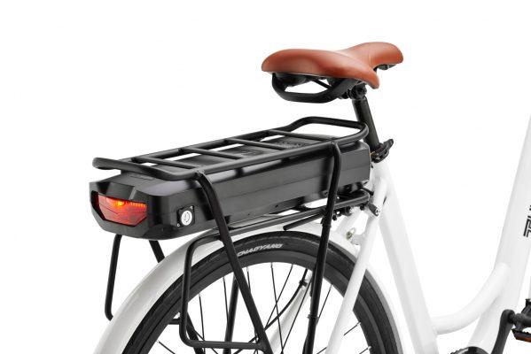 White Tuoteg ebiking bike battery pack from back