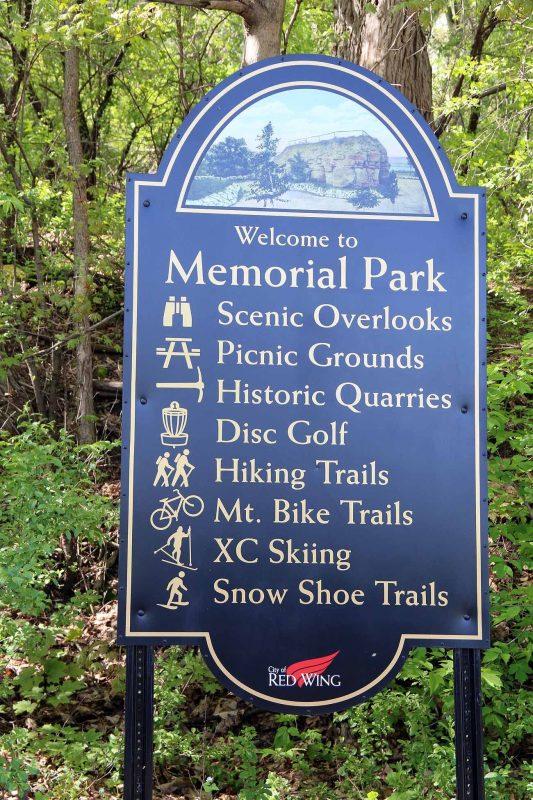 Memorial Park Bike Trail sign